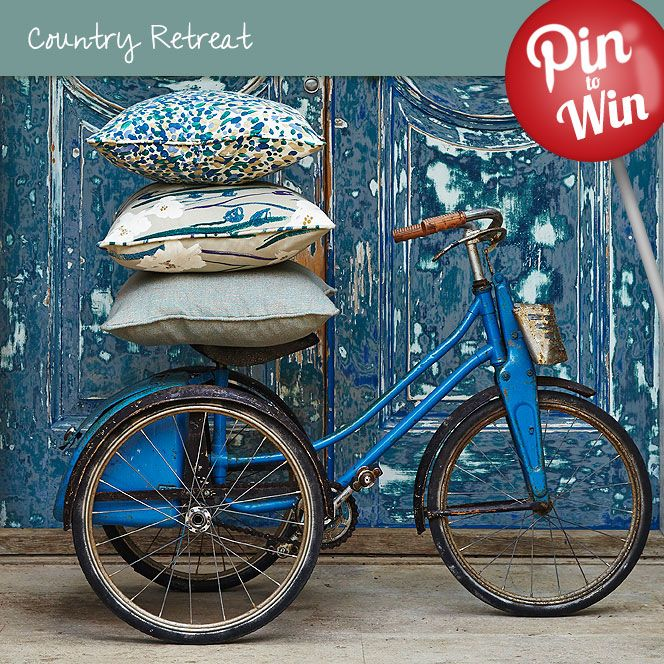 A Selection of Teal Cushions #Hillarys #PinToWin love these pillows and that bike.