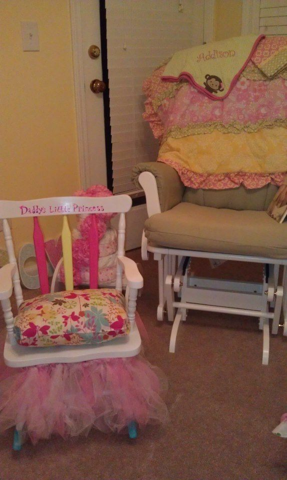 Little Girls Rocking chair! Made with White Spray paint, acrylic paint ...