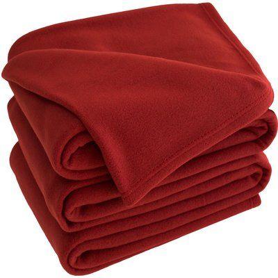 Bare Home Polar Fleece Blanket Size: Queen, Color: Red