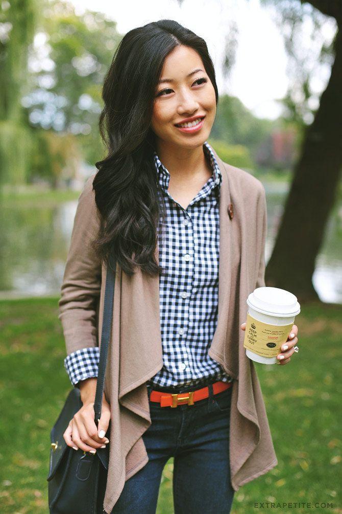 Casual weekend outfit: Coach bag, gingham shirt, Nordstrom fleece drape cardigan + bright belt