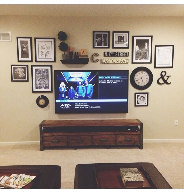 Gallery wall behind tv
