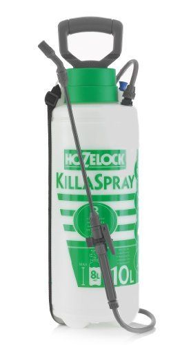 Hozelock KillaSpray . $84.47. Hozelock's popular KillaSpray pressure sprayers make foliar applications (and anything else that requires spraying) simple! Available in Both the seven- and ten-liter sizes offer gardeners a well-made, see-through plastic reservoir with a wide opening for ease in refilling, a comfortable handle for time-intensive jobs, and an adjustable nozzle attached to a long spray lance that conveniently clips to the side of the unit.