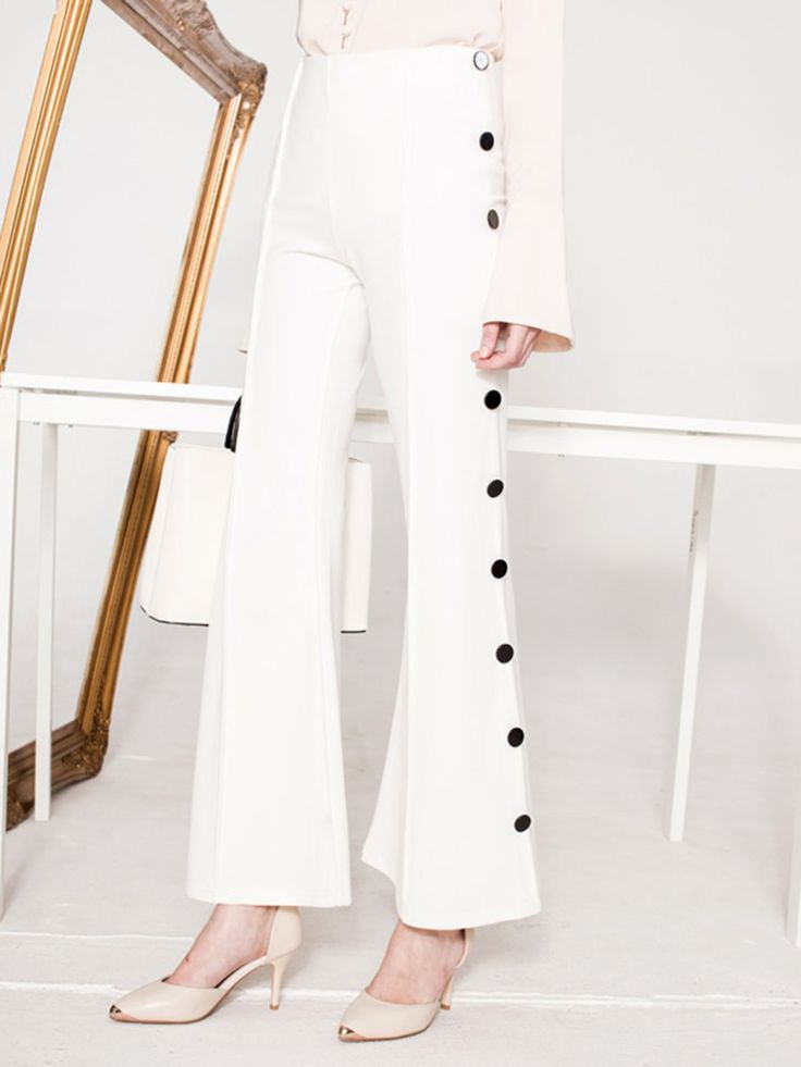 Shop Flared Pants - White Plain Elegant Flared Pant online. Discover unique designers fashion at StyleWe.com.