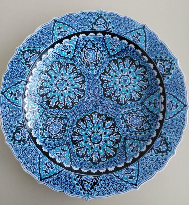OTTOMAN STYLE TURKISH CERAMIC PLATE, 40 cm,BLUE