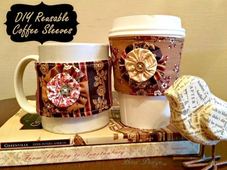 DIY Coffee Sleeve Tutorial with Andover Fabric Little House on the Prairie line