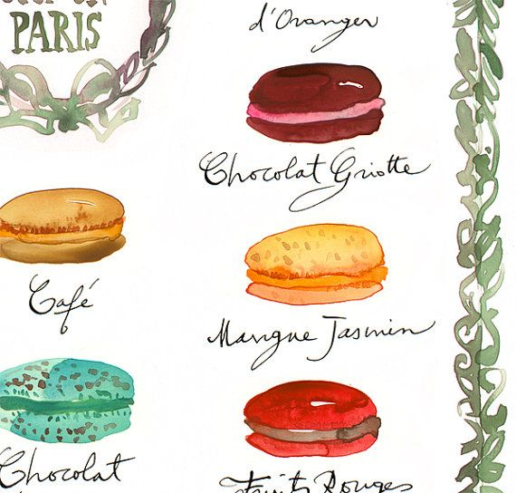French macaron flavor chart print Watercolor by lucileskitchen