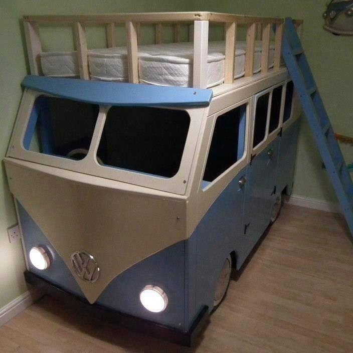 A cot in the form of a Volkswagen Van.