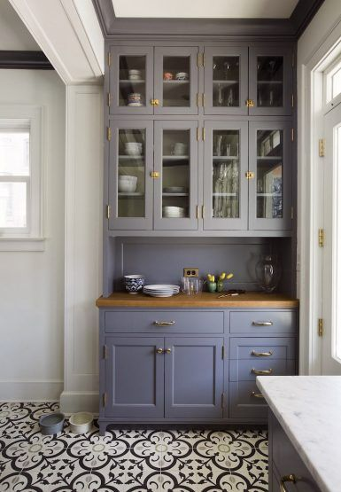 Before and after kitchen renovation-Nastasi Vail // photo: GENEVIEVE GARRUPPO // beautiful gray cabinet and encaustic tile floor