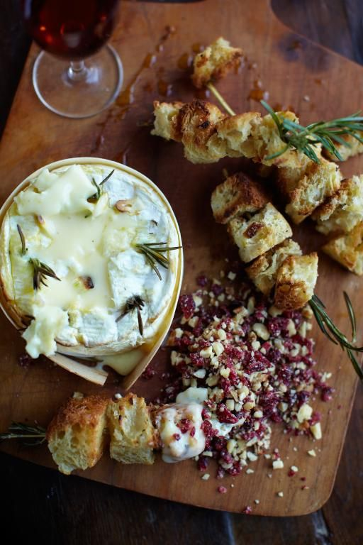 Baked Camembert with Nutty Cranberry Crumbles | Jamie Oliver   (I bake mine with apricot jam on top)