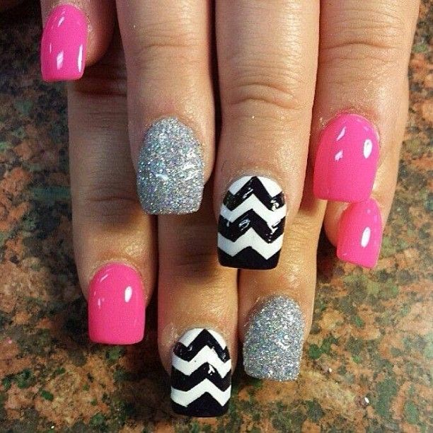 #CUTE #NAILS #STYLE #BLACK #WHITE #PINK #SILVER #GLITTER #STRIPES #STYLE