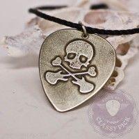 Skull metal guitar pick necklace