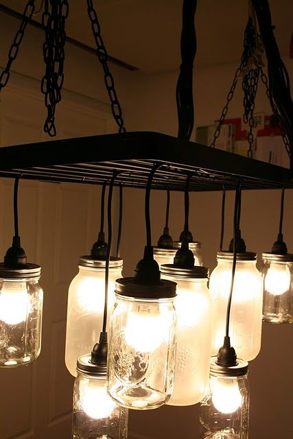 mason jar chandelier-LOVE: Dining Rooms, Pots Racks, Lights Fixtures, Southern Charms, Kitchens Lights, Diy Lights, Jars Lights, Ikea Hackers, Mason Jars Chandeliers