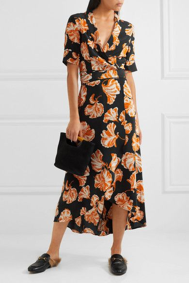 1dc5fedd1495 GANNI - Geroux floral-print silk crepe de chine wrap dress | quiero ...