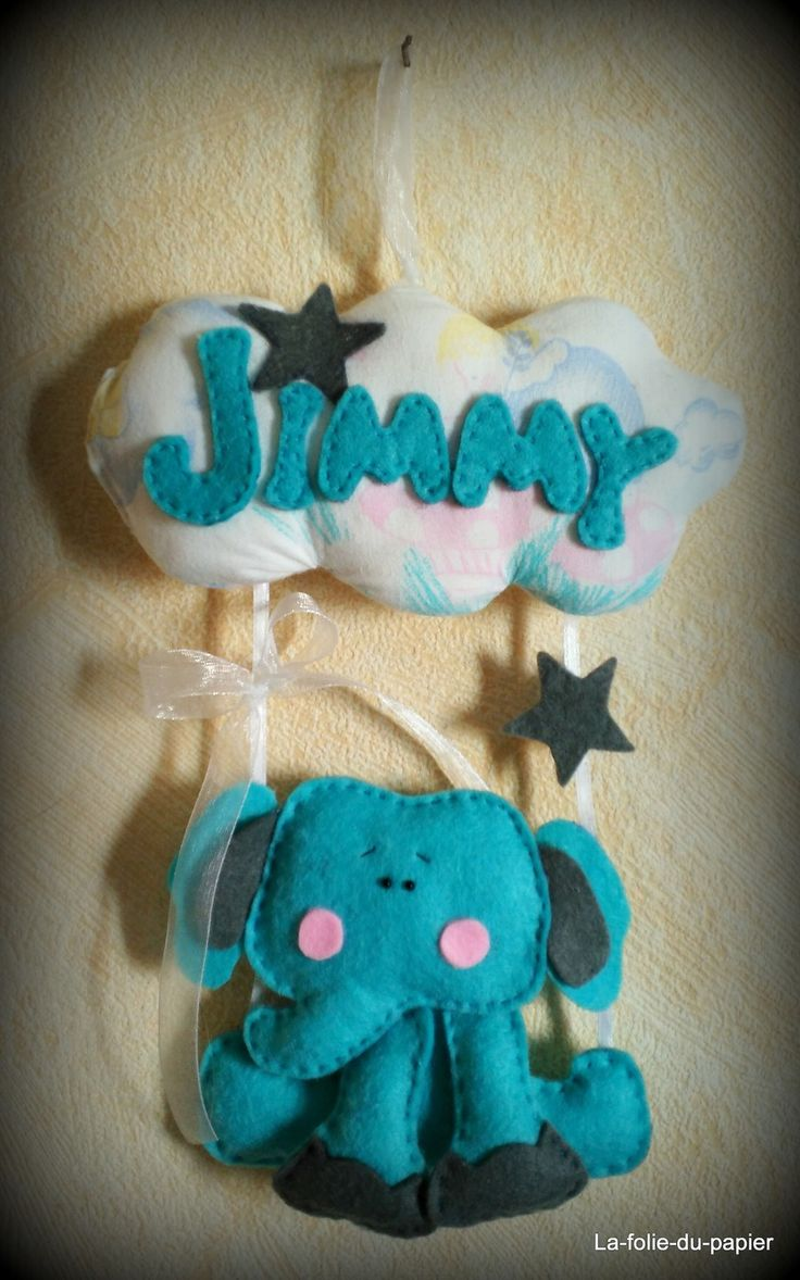 Mobile elephant prenom decoration plaque porte enfant bebe for Decoration porte bebe