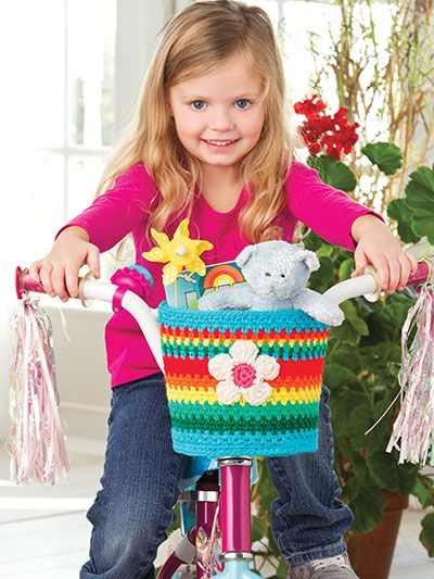 """Rainbow Bike Basket / 8.5""""W at top; 7'W at bottom; 6.5""""H/ intermediate / FREE CROCHET pattern / what little girl wouldn't want this on her bike"""