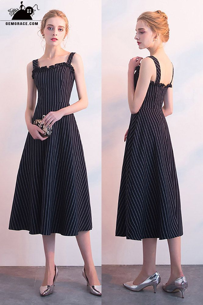 09d7dfbe8de Striped Navy Blue Tea Length Casual Party Dress with Straps ...
