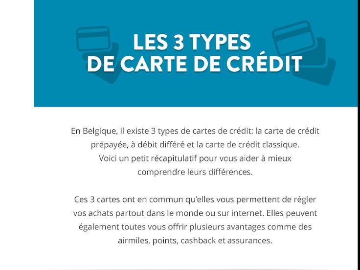 Une infograhie qui présente les 3 cartes de crédit en Belgique. Carte de crédit prépayée, carte de crédit à débit différé et carte de crédit classique