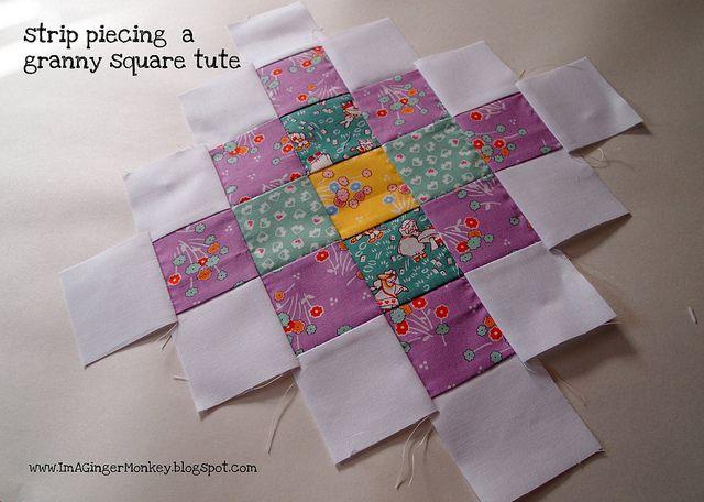 granny square strip piecing tutorial