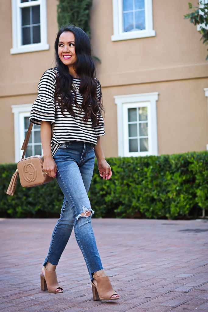 Ripped Step Hem Skinny Jeans, Ruffle Sleeve To, casual outfit, spring outfit, petite fashion blog, nude block heel sandals, Gucci soho disco bag, petite jeans, distressed denim - click the photo for outfit details!