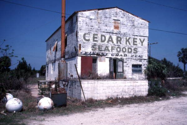 Florida Memory - Abandoned Cedar Key Seafoods building in Cedar Key, Florida - December 1985