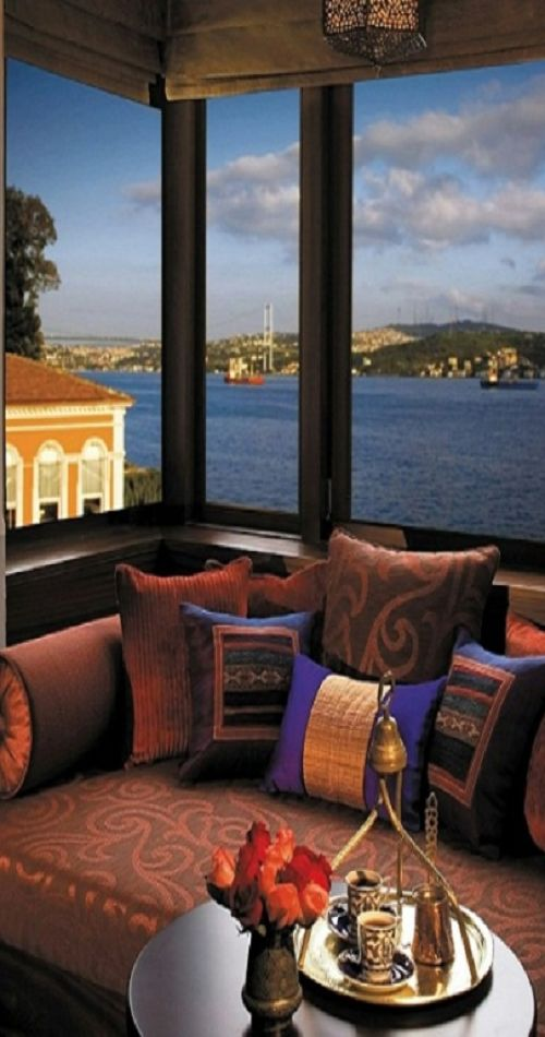 Bohemian Pillows & decor. Looking out over the Bosphorus in Istanbul, Turkey. Such a dream.