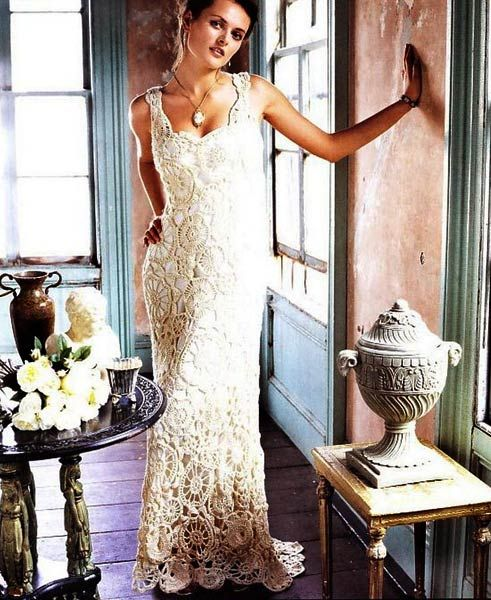 Gorgeous motifs crochet dress with diagramme