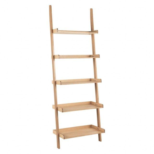 Jessie Oak Wide Leaning Bookcase Ladder Storage Bookcase Shelves