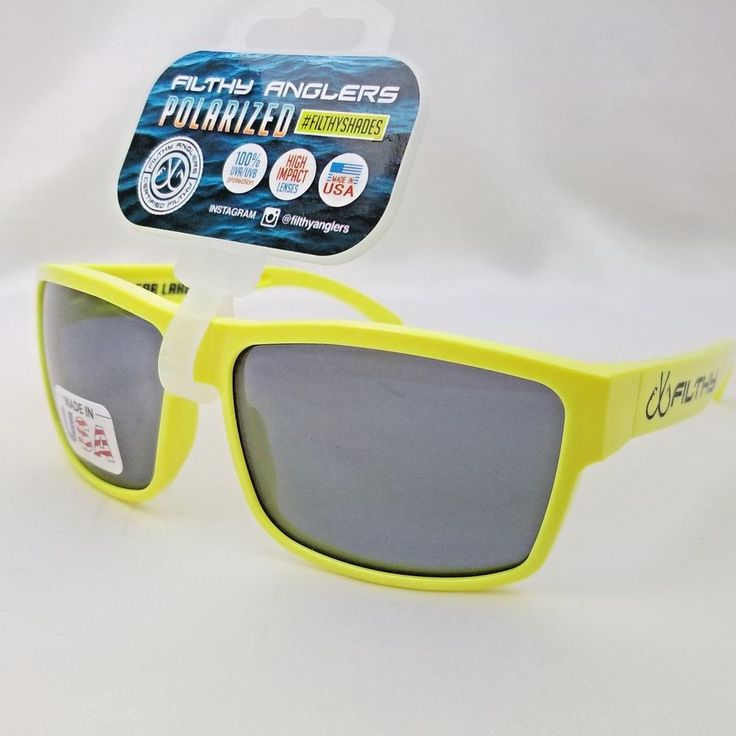 Yellow Neon Filthy Anglers Polarized Fishing Skiing Sunglasses Plastic Frame Ame #ClearLake #Sport