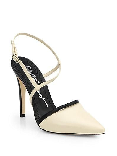 The touch of black on these white Alice + Olivia heels adds just enough edge!