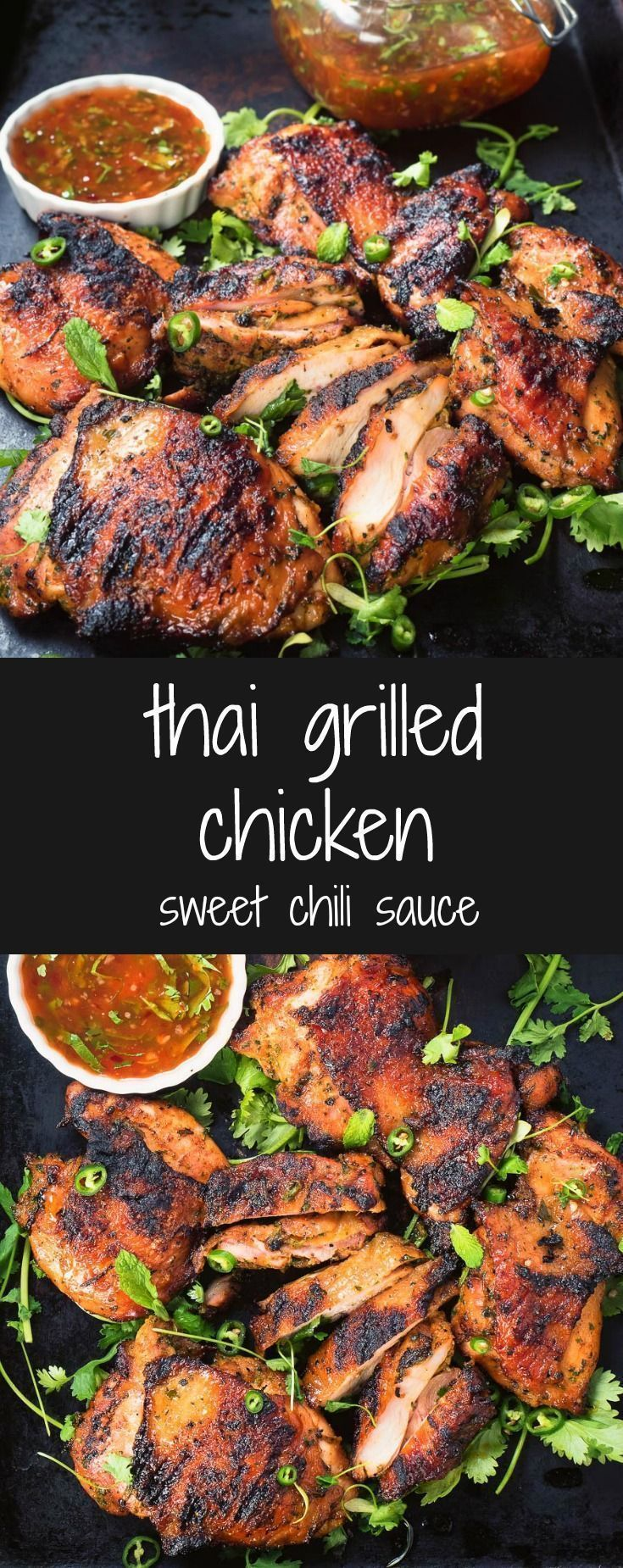 Thai grilled chicken with sweet chili sauce is a delicious way to mix up your summer grilling. #chickengrill #Grillingtips