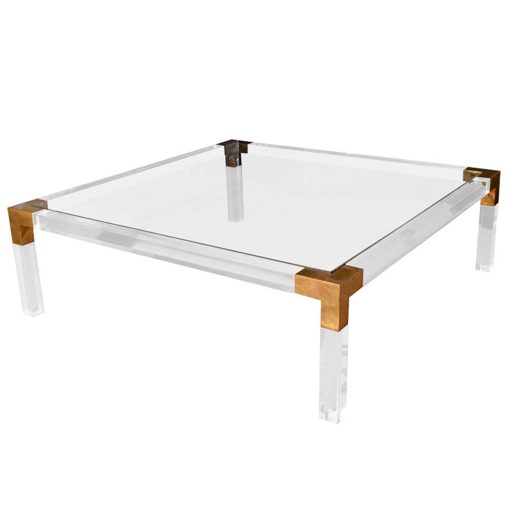 Brass Display Coffee Table: 1970's Lucite And Brass Coffee Table By Charles Hollis
