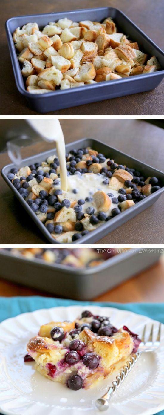 Blueberry Croissant Puff - like a croissant bread pudding