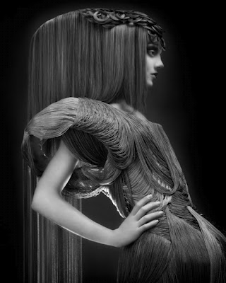 this hair is crazy. it's also a dress made out of hair. whaat.