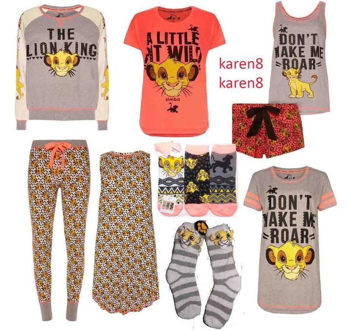 DISNEY Ladies Pyjamas SIMBA The LION KING Primark A LITTLE BIT WILD PJ Separates in Clothes, Shoes & Accessories, Women's Clothing, Lingerie & Nightwear | eBay