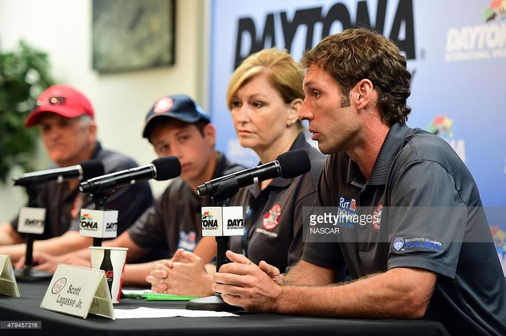 NASCAR driver Scott Lagasse Jr. speaks during a press conference about the FDOT 'Alert Today Alive Tomorrow' campaign prior to qualifying for the NASCAR XFINITY Series Subway Firecracker 250 at Daytona International Speedway on July 4, 2015 in Daytona Beach, Florida.