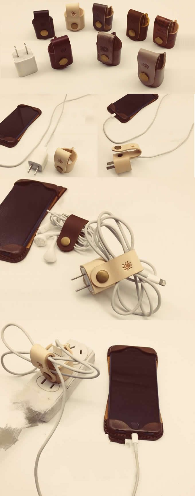 Handmade Leather Wall Plug Protect Case Cable Cord Organizer Cable Management