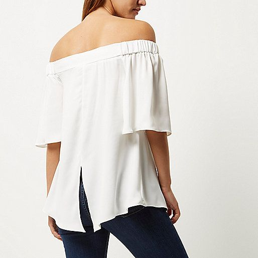 White bardot top - bardot / cold shoulder tops - tops - women