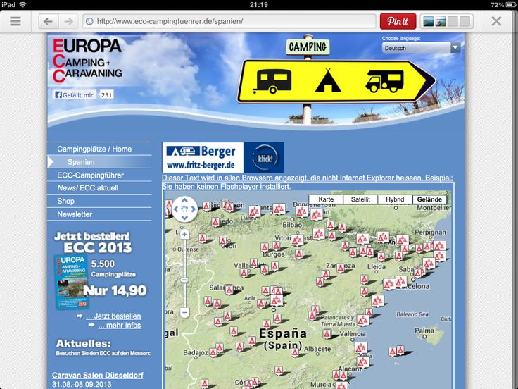 European campsite directory in almost all european languages. www.ecc-campingfuehrer.de