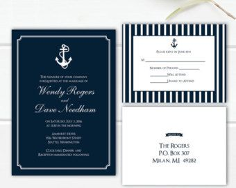 Nautical Anchor Wedding Invitation Megan by MeganElizabethShop