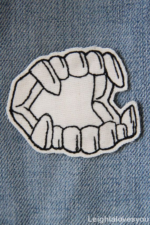 Novelty Vampire Fangs Embroidered Patch/Brooch by LeighLaLovesYou