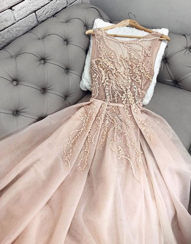Langes Abschlussballkleid aus Champagner-Tüll, formelles Champagner-Kleid