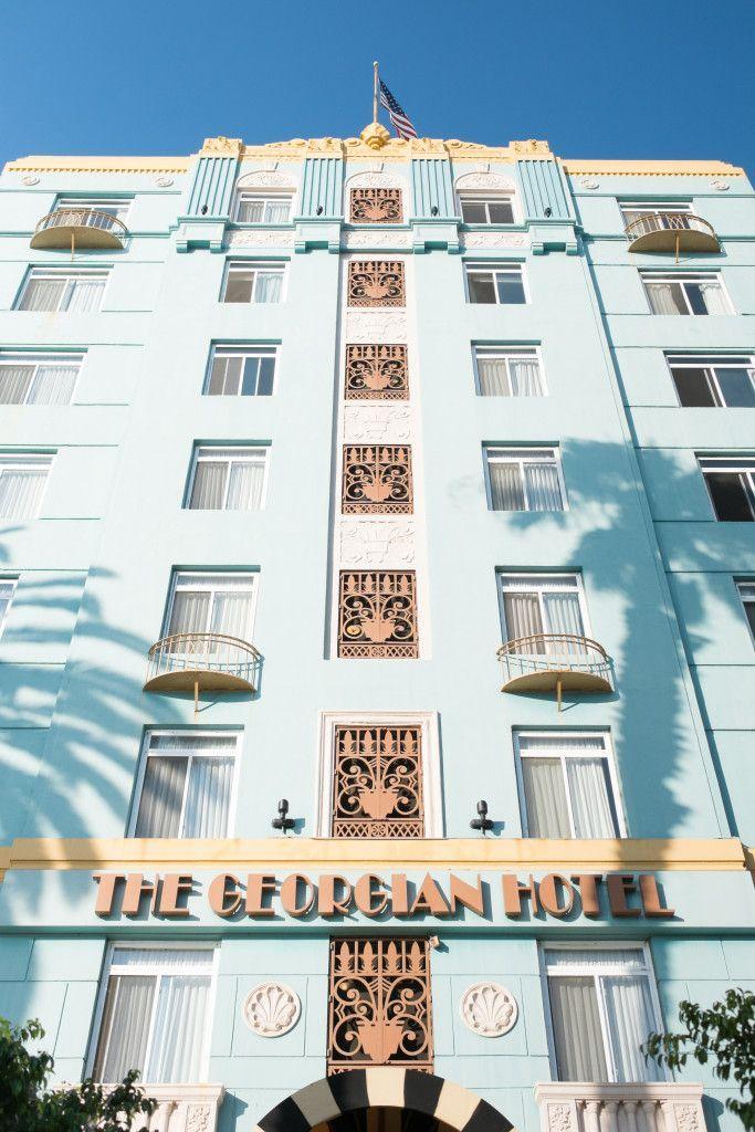 The Goergian Hotel gives Ocean Avenue a Raoring 20s-inspired feel.
