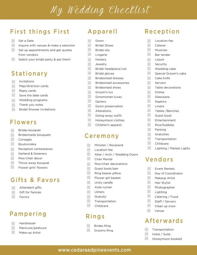 Inspired Image Of Wedding Decor List Regiosfera Com Free Wedding Printables Wedding Planner Checklist Wedding Reception Checklist