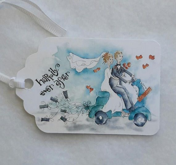 Watercolor Wedding Tags; Gift Tags; Wedding Cards; by Trudy Tibbitts Roberts