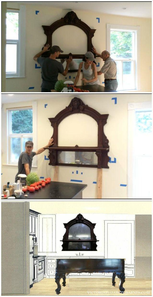 DIY kitchen remodel  antique mirror over kitchen sink