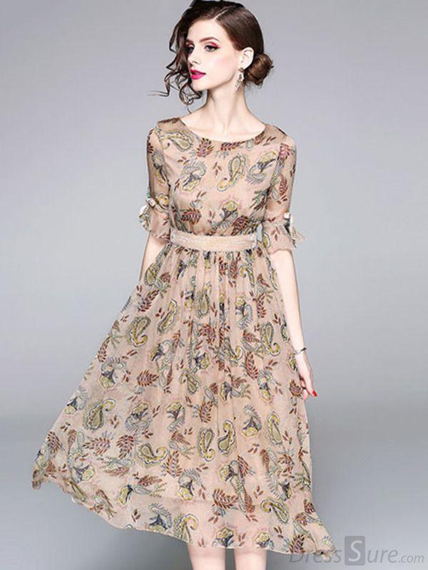 Kaufen Sie elegantes O-Ausschnitt Halbarm Chiffon Print Skaterkleid bei DressSure.com, Desi …   – Sew