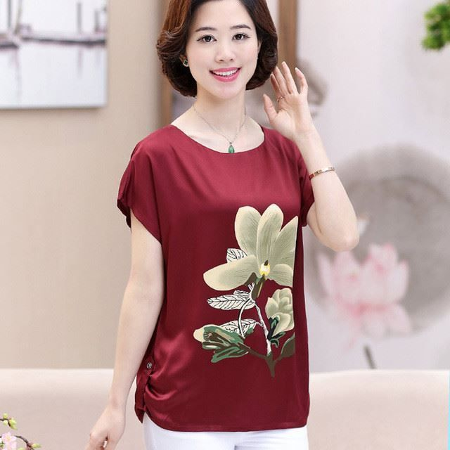 Women Short Sleeve Round Collar Cotton Material Casual T-Shirt