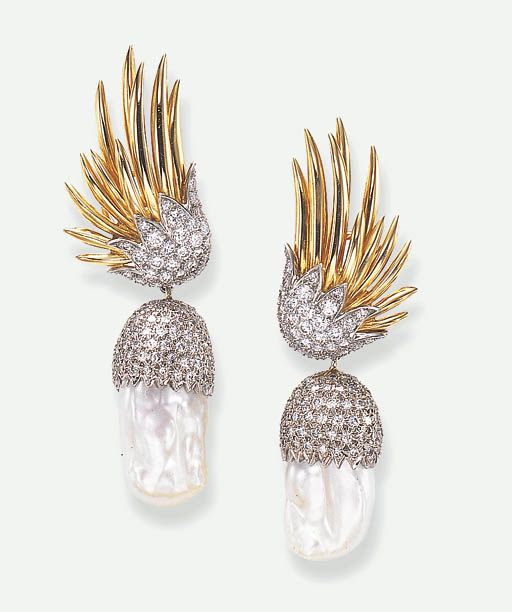 A PAIR OF BAROQUE CULTURED PEARL AND DIAMOND EAR PENDANTS, BY JEAN SCHLUMBERGER, TIFFANY & CO.  Each surmount designed as an outstretched polished gold wing, enhanced by pavé-set diamonds, suspending a detachable baroque cultured pearl pendant, with a pavé-set diamond cap, mounted in 18k gold  Signed Tiffany, Schlumberger