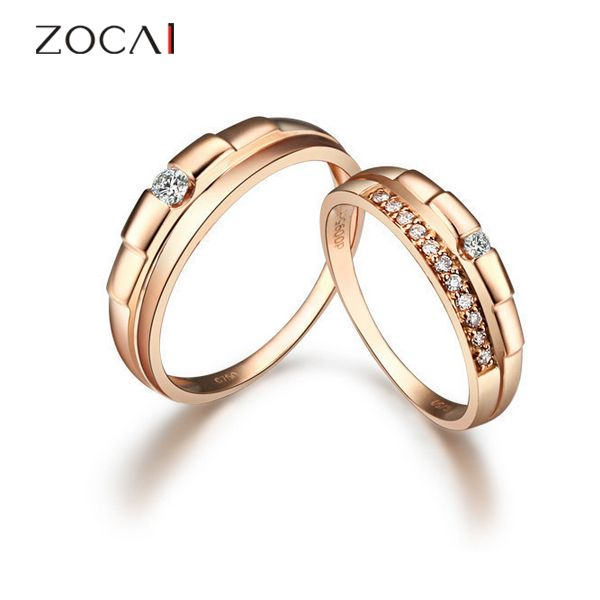 ZOCAI 0.17 Ctw real genuine diamond 18K rose gold engagement bridal ring set wedding couple's ring