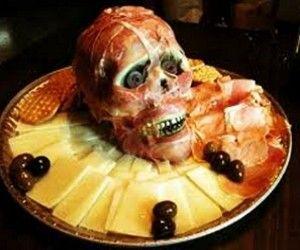 Create a zombie Halloween centerpiece with edible flesh